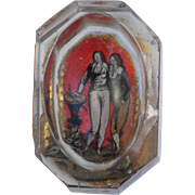 SOLD Rare 18th Century Open Salt  Reverse Painting on Glass of Two Fops  (1700's)
