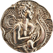 Art Nouveau English Sterling Silver button Angel Harp