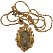 18kt Gold Daimonds  Miniature Portrait Pendant of an Aristocratic
