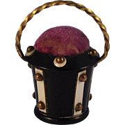 Victorian Anglo/Indian Figural Pincushion Basket  All original  Brass Studs & Handle  Scarce .
