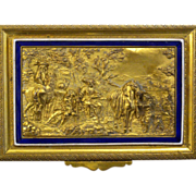 Antique French Gilded Embossed Bronze Enamel Dresser Box