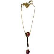 Victorian English 9ct Rose Gold Faceted Garnet Lavalier Pendant Necklace