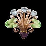 SALE Antique 14k Art Nouveau Krementz Aqua, Amethyst, and Natural Pearl Flower Basket Pin