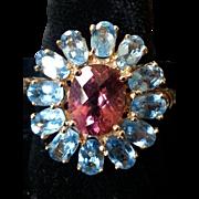 Vintage Pink Tourmaline and Blue Topaz Ring