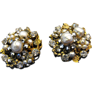 SALE Exquisite DeMario Faux Pearl and Rhinestone Earrings
