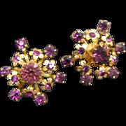 SALE Coro Purple Amethyst Rhinestone Earrings