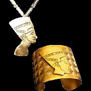 SALE Tortolani Egyptian Style Queen Nefertiti Gold Tone Demi Parure