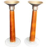 SALE Mid Modern Candlesticks Wood, Glass & Metal