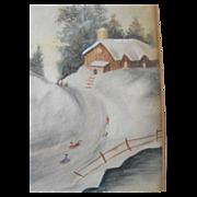 SALE Watercolor Signed Winter Sled Folk Scene Early