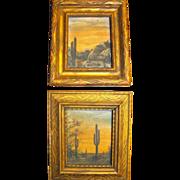 SALE Southwest Oil Miniature Pair Paintings