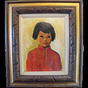 SALE Asian Boy Oil Painting Signed Board Oriental