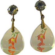 SOLD Reverse Carved Crystal Sterling Geisha Earrings Free Ship!