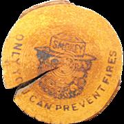 SALE Smokey Bear Souvenir Tree Wooden Ring Sign Plaque