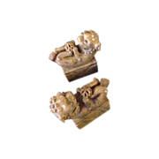 Pair of Carved Soapstone Foo Dog Chops or Seals
