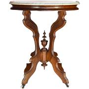 Victorian Eastlake Walnut Oval Marble Topped Table