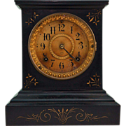 Ansonia Black Cast Iron and Engraved Gold Clock Patented 1882