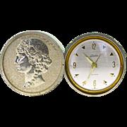 SOLD Vintage Art Deco Linden Travel Alarm Clock Silver Roman Coin