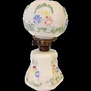 Embossed Painted Milk Glass Oil  Kerosene Lamp