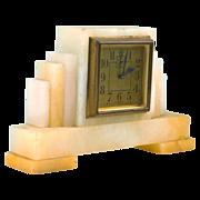 SOLD Art Deco Pastel Colored Alabaster Alarm Clock