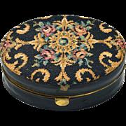 SOLD Vintage Oval Elgin Travel Alarm Rose Flowered Tapestry and Leather