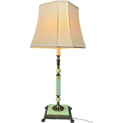 SOLD Leviton Jadeite Swag Glass Cast Iron and Brass Large Table Lamp. 1910-1930's.