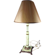 SOLD Leviton Jadeite Swag Glass Cast Iron and Brass Table Lamp. 1910-1930's.