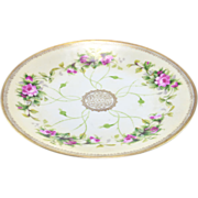 Prussia mark, ca. 1905 by Beyer & Bock Pink Roses Cabinet Plate