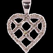 Solid 14K White Gold Heart Pendant Featuring 49 Genuine Diamonds