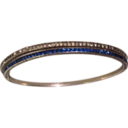 Sterling Hinged Bangle Red White Blue