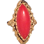 18K Yellow Gold Flip Ring - Cultured Pearls/Coral