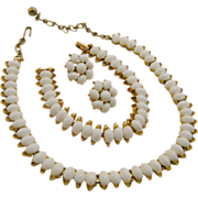REDUCED Crown Trifari Parure Gold Tone with White Beads Necklace, Bracelet, Clip Earrings