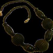 Carved Primitive Ebonized Wood Chunky Beads Necklace