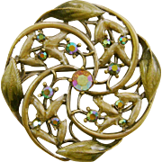 Art Nouveau Style Enamel and Aurora Borealis Rhinestone Brooch/Pin