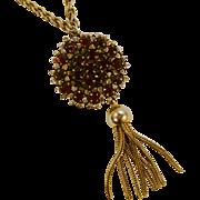Garnet Rhinestones Tasseled Pendant