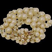 Multi-Strand Simulated Pearls and Aurora Borealis Crystals Bracelet