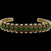 Zuni Snake Eye Petit Point Turquoise Sterling Silver Bracelet
