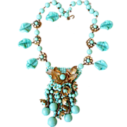 REDUCED Miriam Haskell early vintage turquoise statement necklace