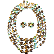 REDUCED Vintage 4 strand beaded necklace and earrings