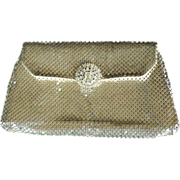 REDUCED Vintage Whiting and Davis silver toned mesh envelope clutch bag