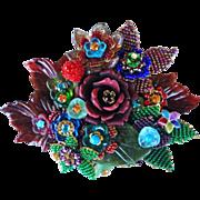 Vintage signed Stanley Hagler Ian St. Gielar LARGE floral brooch pin
