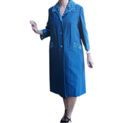 REDUCED Vintage lightweight blue coat cutout embroidery 1950's