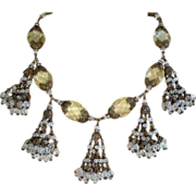 REDUCED Vintage Miriam Haskell citrine colored glass stones necklace with dangles