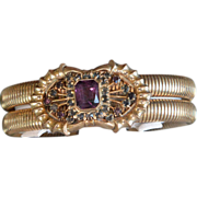 REDUCED Vintage Czech gold-toned cuff bracelet with purple stone