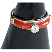 REDUCED Vintage coral and cubic zirconia sterling silver signed ring