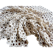 """Vintage ecru handmade tatted lace tablecloth 51"""" by 44"""""""