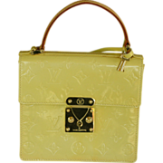 Vintage authentic Louis Vuitton monogram yellow patent leather handbag purse
