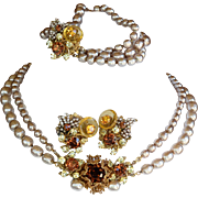 Vintage signed Miriam Haskell faux pearl parure necklace bracelet earrings amber glass