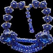 Vintage signed Stanley Hagler N.Y.C. blue gold-toned statement necklace