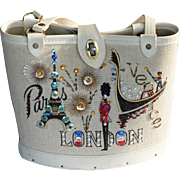 Vintage embellished travel bag purse Paris London Venice