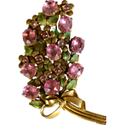 Vintage pot metal pink and green large flower brooch pin